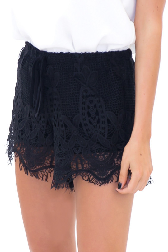 PLAYA BLANCA LACE SHORTS - Black | Haute & Rebellious