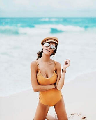 swimwear tumblr hat one piece swimsuit sunglasses mirrored sunglasses fisherman cap summer summer holidays summer accessories