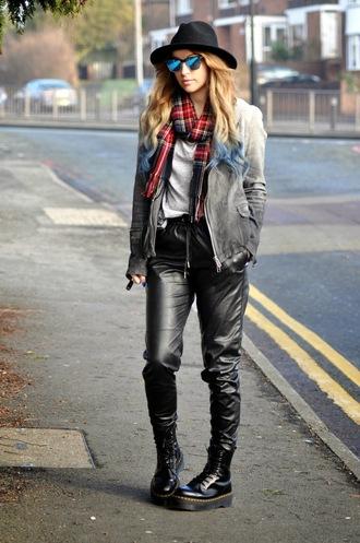 moon magik blogger hat tartan scarf ombre leather pants drmartens