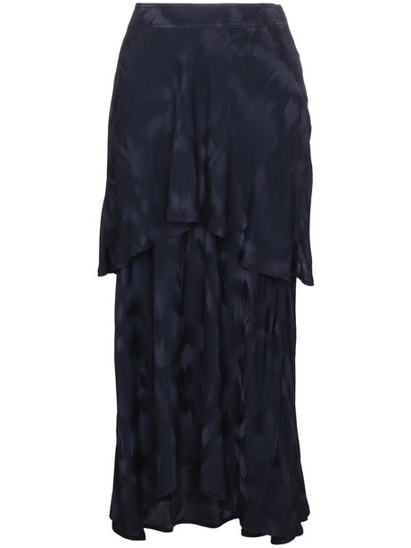 SIES MARJAN skirt paris women jacquard layered blue silk