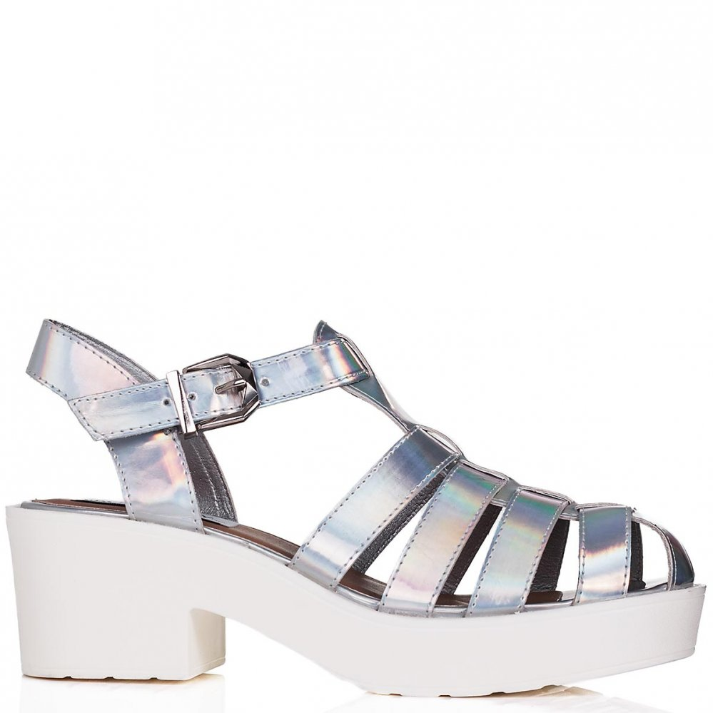 Buy OCEAN Chunky Sole Platform Gladiator Sandal Shoes Silver Hologram Online