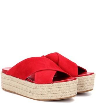 sandals platform sandals suede red shoes