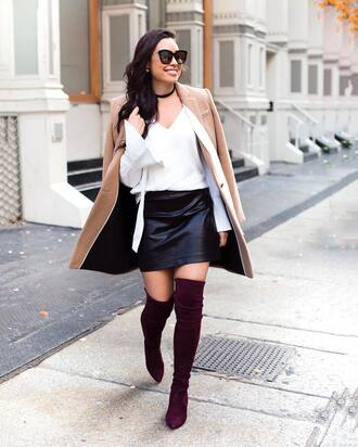 skirt tumblr leather skirt black leather skirt black skirt mini skirt shirt white shirt camel camel coat coat necklace choker necklace sunglasses boots over the knee boots thigh high boots purple pointed toe pumps winter date night outfit date outfit jewels jewelry black choker
