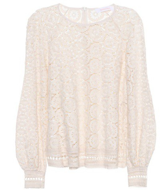 See by Chloe top embroidered lace cotton white