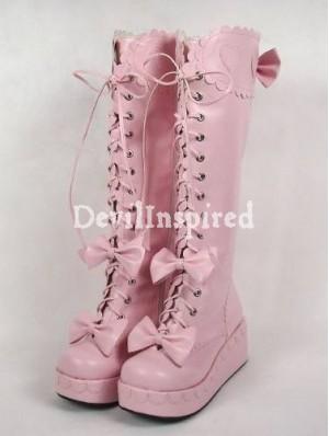 White/Black/Red/Pink Sweet Lolita Princess Platform Boots - DevilInspired.co.uk