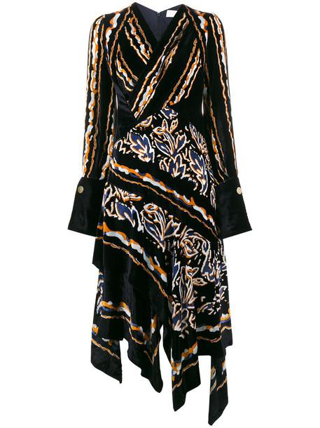 Peter Pilotto dress velvet dress women blue silk velvet