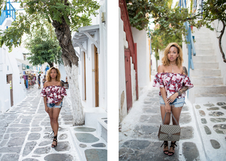a style diary blogger shorts shoes bag jewels off the shoulder floral top red top short shorts gucci lace up heels black heels