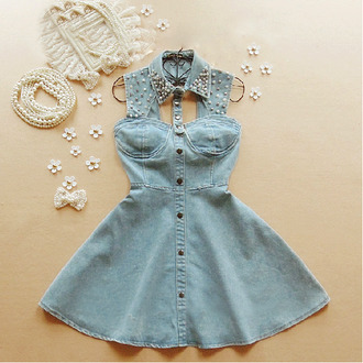 dress summer jeans denim pearl blue elegant pretty cute col claudine strass paillettes l cut offs gems jewels sparkle girly outfit idea fancy fashion material clothes short hot jeans style collar studs