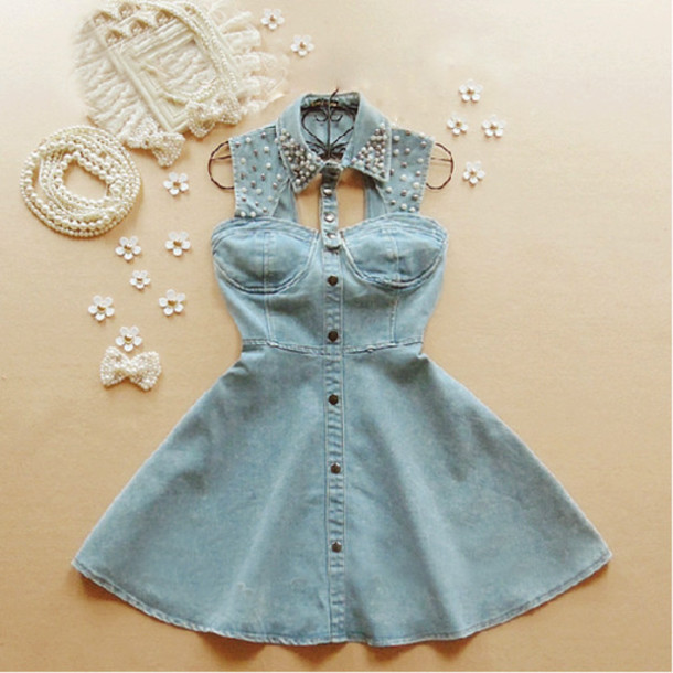 Dress summer jeans denim pearl blue elegant pretty cute col claudine strass paillettes ...