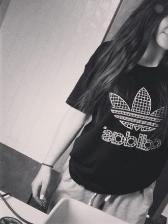 t-shirt adidas logo mesh black white trefoil print sports luxe