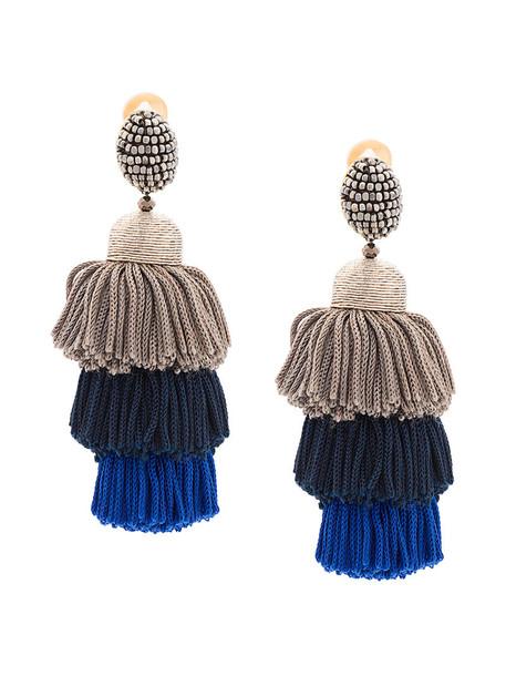 oscar de la renta long tassel women earrings silk grey jewels