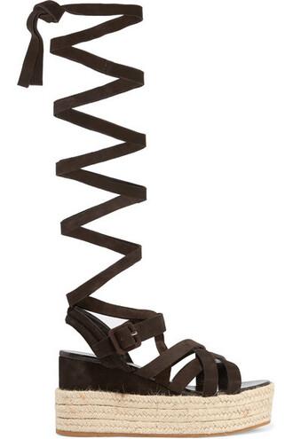 dark sandals platform sandals suede brown shoes