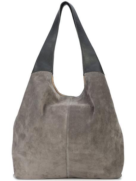 women leather suede grey bag