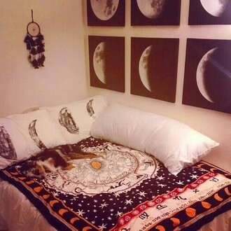 home accessory moon poster moon phases tumblr dorm room dreamcatcher home decor bedroom bedding