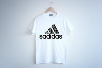 shirt t-shirt top black white trendy pun punny funny comedy sad sadface sadidas pretty cute style