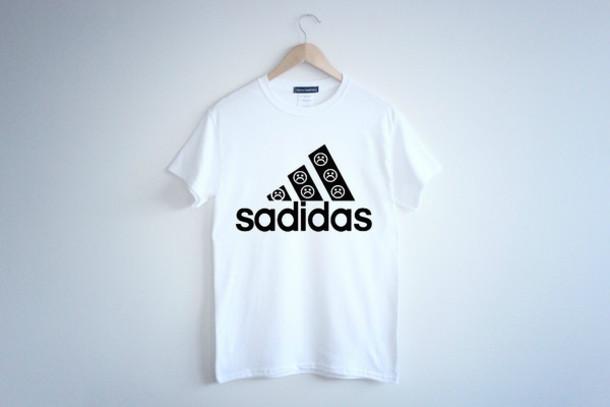 shirt t-shirt t-shirt top black white trendy pun punny funny comedy funny sad sadface sadidas pretty cute style trendy