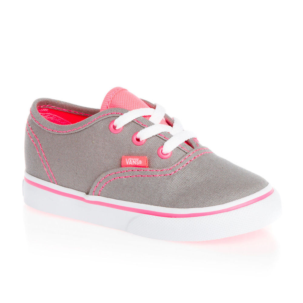 Vans Authentic Girls Trainers Shoes - (Neon Pop) Frost Grey Pink  d6ee45be61