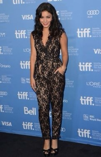 pants jumpsuit net celebrity style vanessa hudgens black red carpet