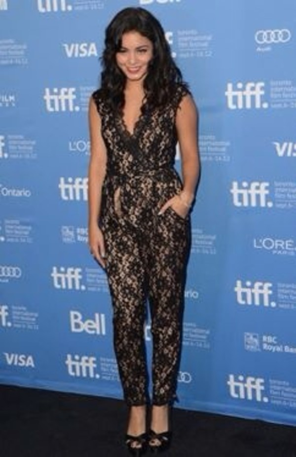 pants jumpsuit net celebrity style vanessa hudgens celebrity style black red carpet