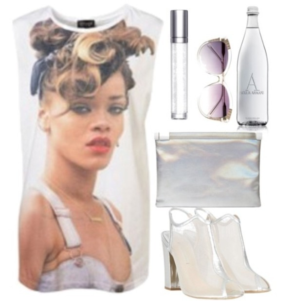 blouse white rihanna sunglasses transparent spring summer 2014 shoes