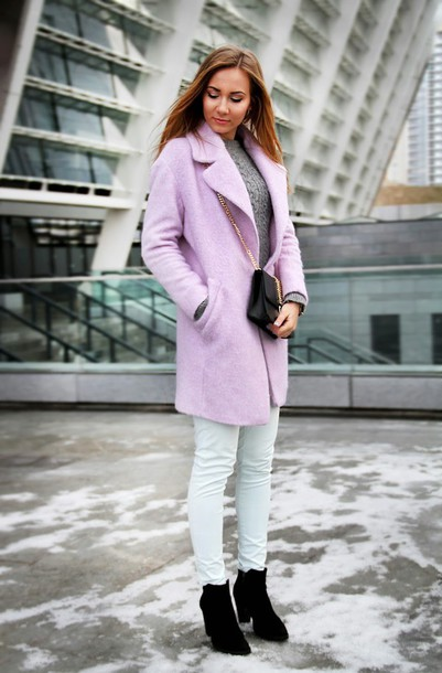 dream love shop blogger coat lilac skinny pants