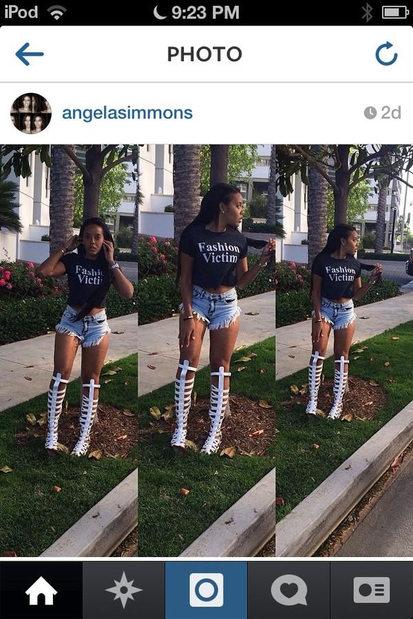 shorts shirt gladiators high waisted denim shorts Angela Simmons t-shirt