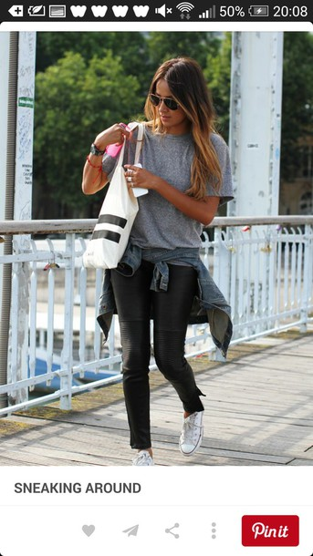 leggings leggings black leggings grey shirt white converse
