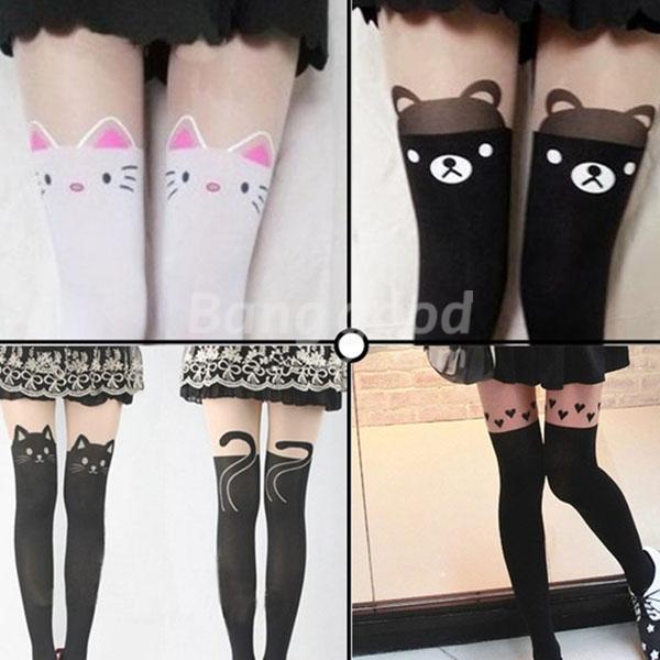 Bear Cat Black Stocking Tight  Pantyhose Lovely Over Knee Tattoo - US$4.55