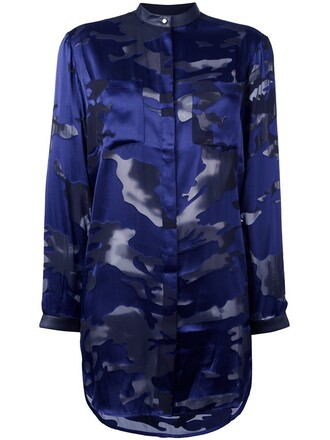 shirt camouflage blue top