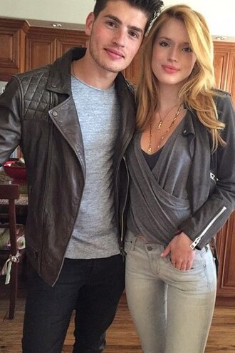 top jacket biker jacket instagram bella thorne jeans