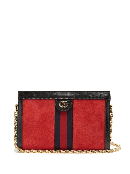 gucci bag shoulder bag suede red