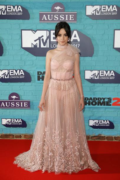dress nude dress red carpet dress camila cabello see through dress prom dress gown nude mtv ema awards wedding dress