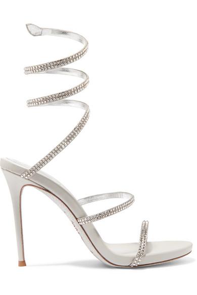 René Caovilla - Cleo crystal-embellished metallic leather sandals