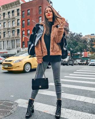 shoes tumblr boots black boots ankle boots denim jeans grey jeans jacket fuzzy jacket black jacket brown jacket bag black bag