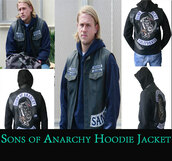 jacket,sons of anarchy,lather jackets,hoodie,hooded jacket