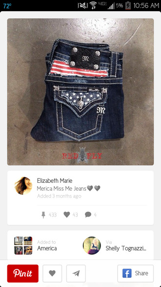 jeans miss me jeans red white and blue bag