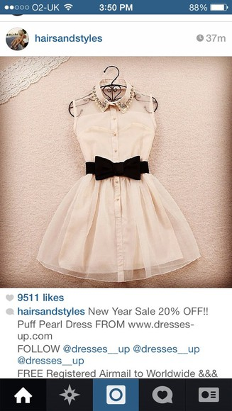 dress white collar black bow white dress cream dress white pearls