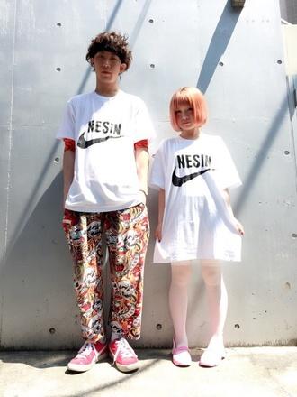 t-shirt white shirt kawaii kawaii grunge nike japan pastel hair fashion soft grunge pants unisex japanese fashion printed pants