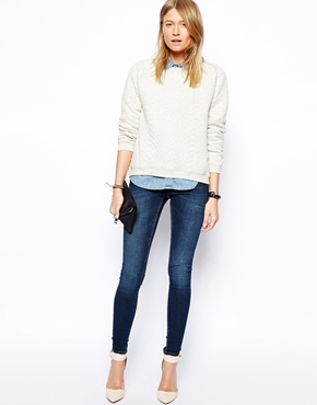 ASOS | ASOS Whitby Low Rise Skinny Jeans in Dark Wash Blue at ASOS