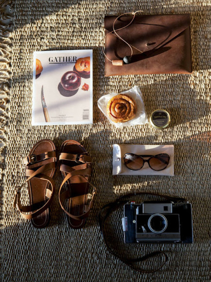 shoes brown shoes sunglasses fashion brown sandals brown sandals girl tumblr camera magazine bag