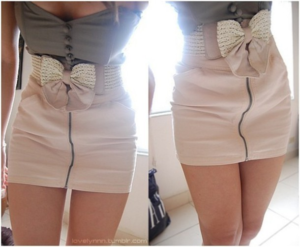 pink pink skirt strapless dress skirt bow belt zip-up belt shirt dress zip-up skirt button-up top grey top two piece noeud clothes bows top blouse zipper ribbon bow summer cute buttons creme skirt creme bow belt tank top