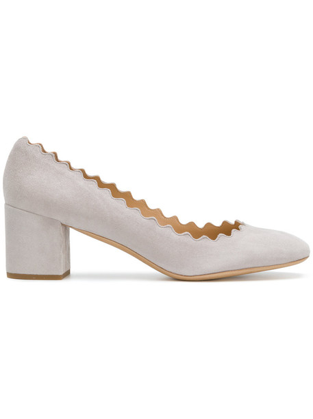 Chloe heel women pumps leather suede grey shoes