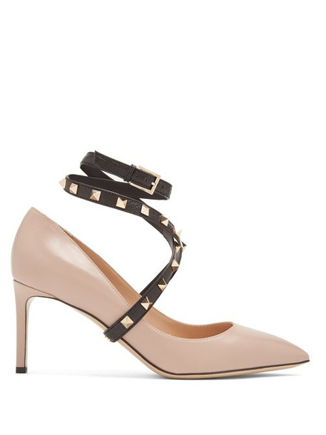 Valentino - Studwrap Leather Pumps - Womens - Nude