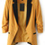 Dark Yellow Contrast Notch Lapel Long Sleeve Blazer - Sheinside.com