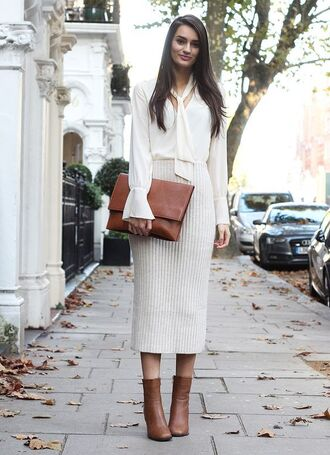skirt knitted skirt white skirt midi skirt ribbed skirt high waisted skirt boots high heels boots brown boots brown bag clutch shirt white shirt fall outfits office outfits work outfits peexo blogger missguided