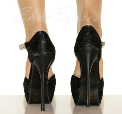 WOMEN HIGH HEEL BLACK SATIN COVERED LACE GOTH PARTY SEXY SHOES -UK2-7,EU35-40   Amazing Shoes UK