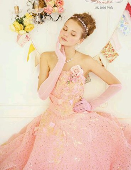 dress clothes: wedding wedding dress prom dress pink pink dress girly flowers glitter dress sparkly dress