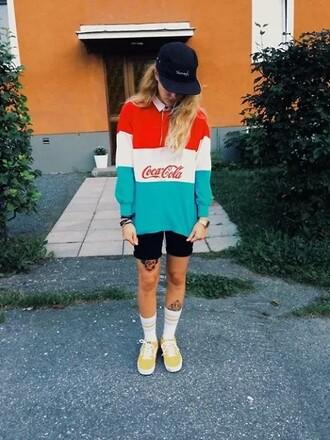 sweater sweatshirt coca cola brand tumblr red blue blue shirt white stripes