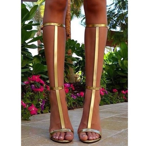 68ce497047f shoes heels strappy high knee high gold heels gold sandals sandals gold  strappy heels gladiators gladiators
