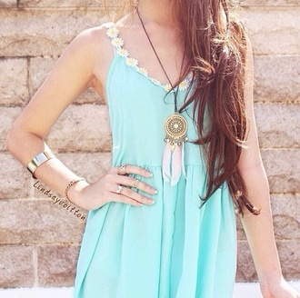dress summer dress summer blue flowers dreamcatcher